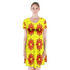 Pattern Design Graphics Colorful Short Sleeve V-neck Flare Dress