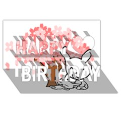 Rabbit Bunnies Animal Cute Tree Happy Birthday 3D Greeting Card (8x4)
