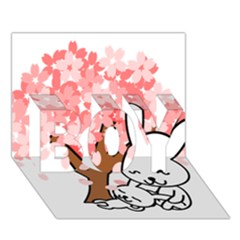 Rabbit Bunnies Animal Cute Tree BOY 3D Greeting Card (7x5)
