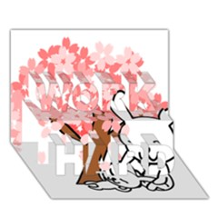 Rabbit Bunnies Animal Cute Tree WORK HARD 3D Greeting Card (7x5)