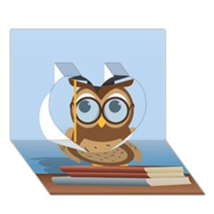 Read Owl Book Owl Glasses Read Heart 3D Greeting Card (7x5)