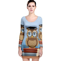 Read Owl Book Owl Glasses Read Long Sleeve Bodycon Dress