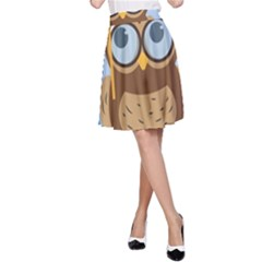 Read Owl Book Owl Glasses Read A-Line Skirt