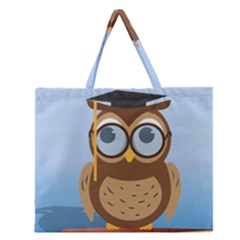 Read Owl Book Owl Glasses Read Zipper Large Tote Bag