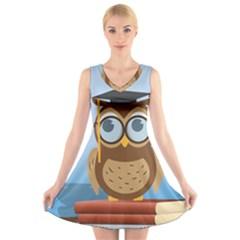Read Owl Book Owl Glasses Read V-Neck Sleeveless Skater Dress
