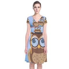 Read Owl Book Owl Glasses Read Short Sleeve Front Wrap Dress