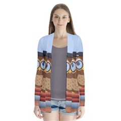 Read Owl Book Owl Glasses Read Drape Collar Cardigan