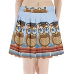 Read Owl Book Owl Glasses Read Pleated Mini Skirt