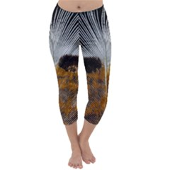 Spring Bird Feather Turkey Feather Capri Winter Leggings