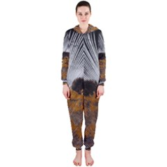 Spring Bird Feather Turkey Feather Hooded Jumpsuit (Ladies)