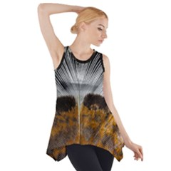 Spring Bird Feather Turkey Feather Side Drop Tank Tunic