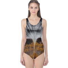 Spring Bird Feather Turkey Feather One Piece Swimsuit