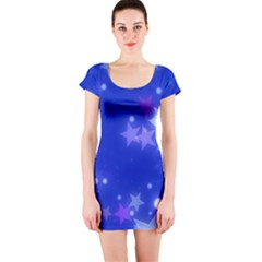Star Bokeh Background Scrapbook Short Sleeve Bodycon Dress