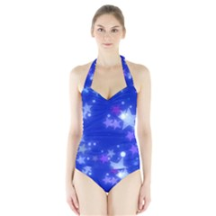 Star Bokeh Background Scrapbook Halter Swimsuit