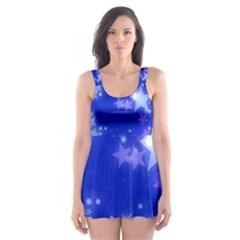 Star Bokeh Background Scrapbook Skater Dress Swimsuit