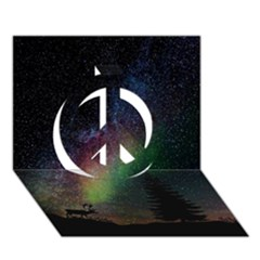 Starry Sky Galaxy Star Milky Way Peace Sign 3D Greeting Card (7x5)