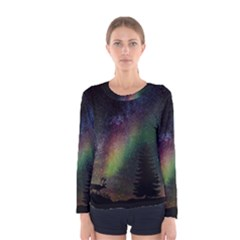 Starry Sky Galaxy Star Milky Way Women s Long Sleeve Tee