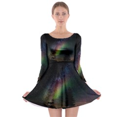 Starry Sky Galaxy Star Milky Way Long Sleeve Skater Dress