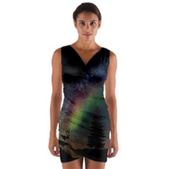 Starry Sky Galaxy Star Milky Way Wrap Front Bodycon Dress
