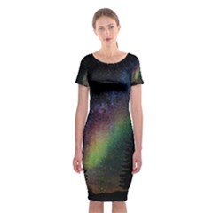 Starry Sky Galaxy Star Milky Way Classic Short Sleeve Midi Dress
