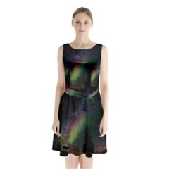 Starry Sky Galaxy Star Milky Way Sleeveless Chiffon Waist Tie Dress