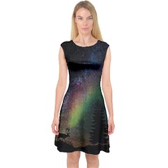 Starry Sky Galaxy Star Milky Way Capsleeve Midi Dress