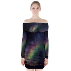 Starry Sky Galaxy Star Milky Way Long Sleeve Off Shoulder Dress