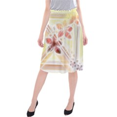 Swirl Flower Curlicue Greeting Card Midi Beach Skirt