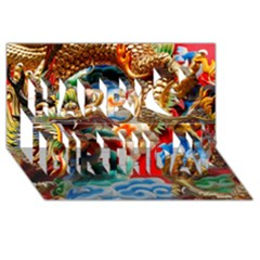 Thailand Bangkok Temple Roof Asia Happy Birthday 3D Greeting Card (8x4)