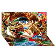 Thailand Bangkok Temple Roof Asia Twin Hearts 3D Greeting Card (8x4)