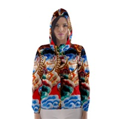 Thailand Bangkok Temple Roof Asia Hooded Wind Breaker (Women)