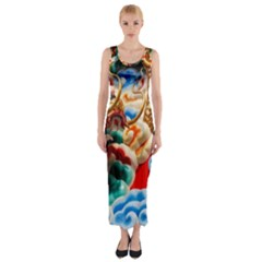 Thailand Bangkok Temple Roof Asia Fitted Maxi Dress
