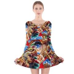 Thailand Bangkok Temple Roof Asia Long Sleeve Velvet Skater Dress