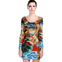 Thailand Bangkok Temple Roof Asia Long Sleeve Velvet Bodycon Dress