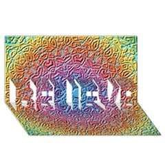 Tile Background Pattern Texture BELIEVE 3D Greeting Card (8x4)