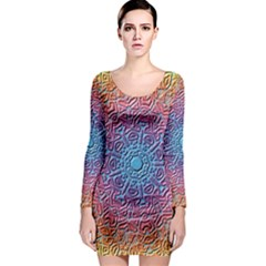 Tile Background Pattern Texture Long Sleeve Bodycon Dress