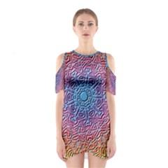 Tile Background Pattern Texture Cutout Shoulder Dress