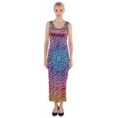 Tile Background Pattern Texture Fitted Maxi Dress