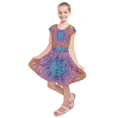 Tile Background Pattern Texture Kids  Short Sleeve Dress