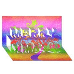 Tree Colorful Mystical Autumn Merry Xmas 3D Greeting Card (8x4)
