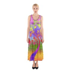 Tree Colorful Mystical Autumn Sleeveless Maxi Dress