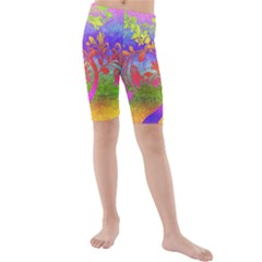 Tree Colorful Mystical Autumn Kids  Mid Length Swim Shorts