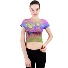 Tree Colorful Mystical Autumn Crew Neck Crop Top