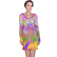Tree Colorful Mystical Autumn Long Sleeve Nightdress