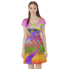 Tree Colorful Mystical Autumn Short Sleeve Skater Dress