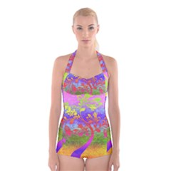 Tree Colorful Mystical Autumn Boyleg Halter Swimsuit