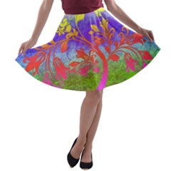Tree Colorful Mystical Autumn A-line Skater Skirt