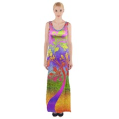 Tree Colorful Mystical Autumn Maxi Thigh Split Dress