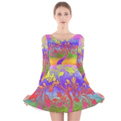 Tree Colorful Mystical Autumn Long Sleeve Velvet Skater Dress