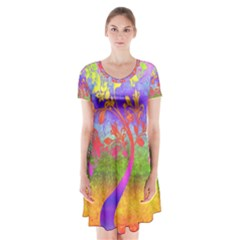 Tree Colorful Mystical Autumn Short Sleeve V-neck Flare Dress